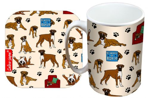 Selina-Jayne Boxer Dog Limited Edition Designer Mug and Coaster Set